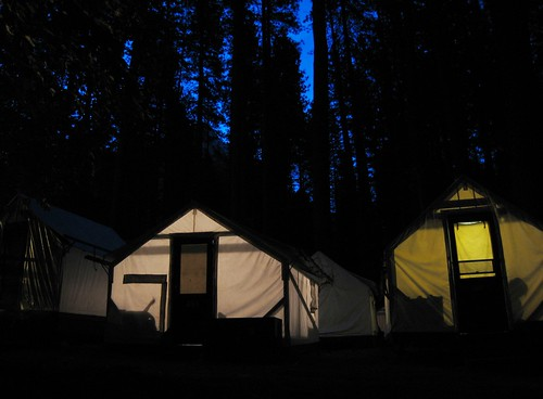 Typical Gratuitous Night Shot of a Tent cabin