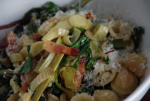 orecchette with fennel, chard, onion, bok choy, and bacon
