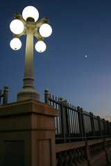 dusk with moon (Karol Franks) Tags: ca street bridge light sky moon la losangeles google sundown pasadena nationalparkservice bing copyrighted otw coloradostreetbridge nationalregisterofhistoricplaces calfiornia okarol karolfranks aingworth pleasedonotuseimageswithoutmypermission nrhpreference81000156 route66xviewproute66 httpwwwnpsgovhistorynrtravelroute66coloradostreetbridgepasadenahtml