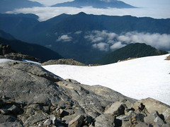 Looking down snowfield below the summit block