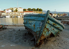 , the boat (ssj_george) Tags: leica wood old houses sea summer abandoned water port buildings boats lumix harbor boat wooden sand rust ships sails rusty holes panasonic greece shore crete cracks mould loulou abandonment chania    canea fz28  ssjgeorge