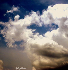 Heart in the clouds (sylkyred1) Tags: blue sky white clouds heart heartintheclouds happybluemonday hisloveofromabove