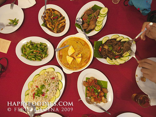 A table full of Nyonya Cuisine dishes