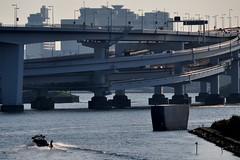 urban wakeboarding (sinkdd) Tags: urban silhouette japan tokyo nikon highway cityscape waterfront  odaiba wakeboard nikkor 18200mm d90 metropolitanexpressway nikond90 sinkdd