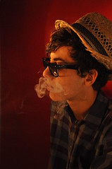 Cigarette smoke (Emmeline Layglon (mamzelmistic)) Tags: red men hat dark glasses cigarette smoke chapeau lunettes wayfarer rayban homme loris fume cigarettesmoke arcticmonkeys nikond90 mamzelmistic