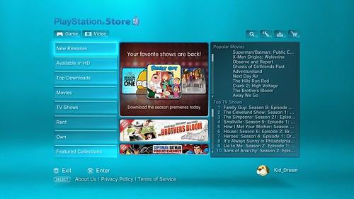 PlayStation Video Store Update 10-1-09