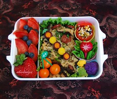 Sticky Rice Bento (sherimiya ) Tags: school fruits kids tomato lunch kid healthy strawberry pretty rice sticky sheri plum homemade olives bento radish blueberries obento broccoflower peapods purplecauliflower purplecarrots yellowcarrots yellowcauliflower sherimiya