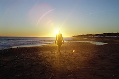 Montauk Winter (scott w. h. young) Tags: ocean winter light sunset snow newyork love film beach girl 35mm montauk