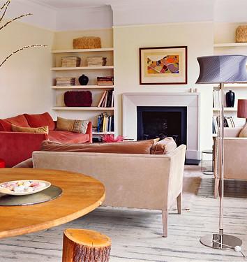 Pale living room + velvet + 'Slipper Satin' by Farrow & Ball