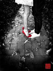 Je t'aime, Ma chrie. (baiteau) Tags: red blackandwhite bw love blackwhite singapore shoes couple redshoes selectivecoloring fortcanningpark littleredshoes