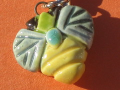 ceramic bee cell charm