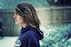 Prologue (Ana Santos) Tags: winter snow me vintage hair snowflakes hoodie backyard bokeh song highlights snowing brunette hairstyle 52weeks wintersong sarabareilles ingridmichaelson sweatershirt anasantosphotography whyigrewoutmyhair