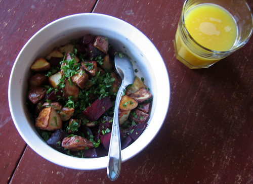 sunday morning breakfast, potatoes and beets