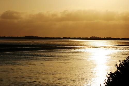 到七股潟湖看夕陽吹海風