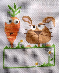 Rabbit and carrot (Sosso82) Tags: rabbit bunny easter crossstitch stitch carrot pointdecroix lapin carotte pques broderie barbaraanadesigns barbaraana