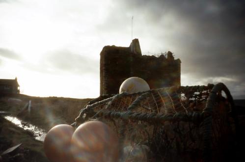 Portencross castle creel and floats pinhole 30Jan09