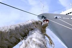 Encapillado (El Templario) Tags: sea sky port puerto pier mar cabo barco ship board rope knot cielo bow mooring nautical gaza fasten nudo berth nautico bight borda proa amarre d80