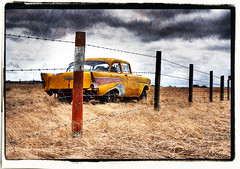 The Morning After, .... (Alive in Calgary) Tags: old good days yelow 57 chev goodolddays whichwaynow 57chev