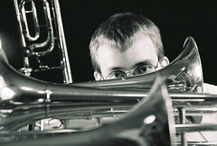 Portrait of Adam with trombones, taken by Jamie a couple of years ago