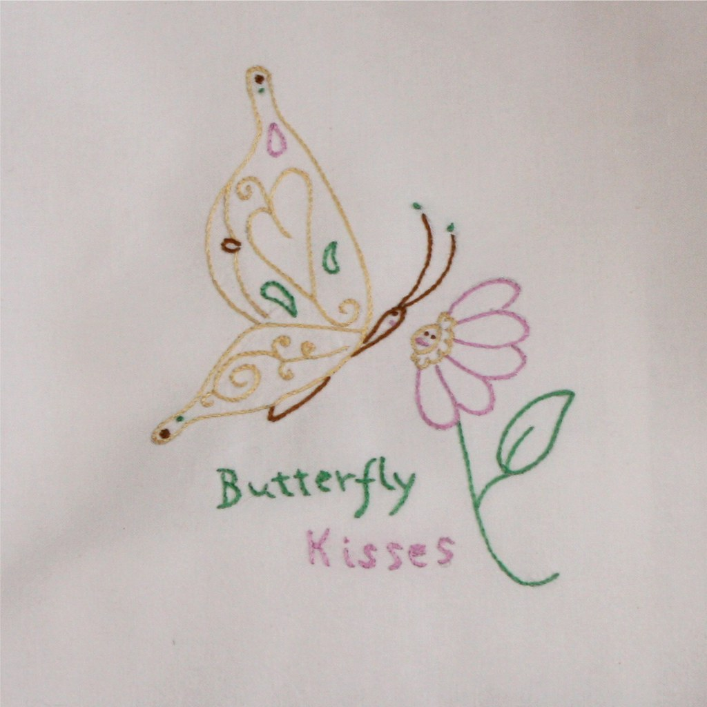 Hand embroidered Butterfly Kisses flour sack tea towel