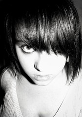 Poker Face (Shot.By.Shel Photography) Tags: portrait blackandwhite bw woman 3 me girl face self hair bangs shel pokerface ladygaga myhairlooksprettyscenehere