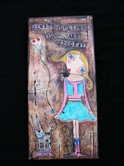 Rodeo Girl (pikesbabe) Tags: woman collage lady painting acrylic folkart mixedmedia crow whimsical rodeogirl suziblu
