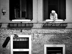 lady and pigeon, Venice (Fabio Giannelli) Tags: venice windows bw lady pigeon iknowiwasprettylucky