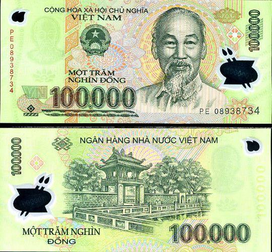 100 000 dong Vietnam 2008, polymer
