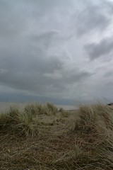 Sand dunes and grey sky