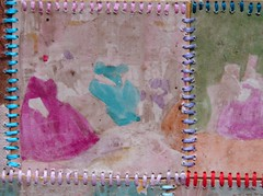 colour blindnesss 3 (oriac) Tags: old pink blue yards red party people woman brown man colour green art wool thread yellow collage dinner umbrella photo paint dress purple antique glue violet holes cotton numbers photograph gathering stitches watercolour mute faint blindness 1900s
