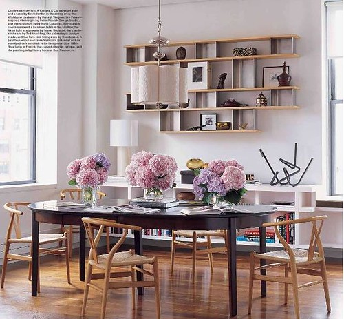 Dining Room + Library: Floating Shelves + Wegner Wishbone Chairs, From Elle  Decor