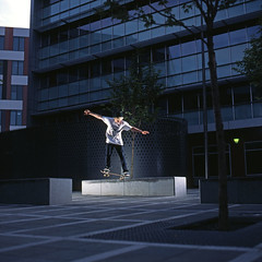 Ferg Bs Nosegrind (RobSalmon) Tags: from two hairy colour 120 6x6 robert film square skateboarding bs sheffield yorkshire flash salmon slide rob east anderson bronica skate tranny transparency skateboard format skater 100 backside hull fergus sq provia fergie beverley sqa flashes ferg rdpiii nosegrind hairyrob fergel