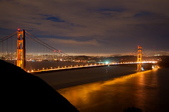 The Golden Gate Bridge at night (Images by John 'K') Tags: sanfrancisco california city sunset night lights explore goldengatebridge sanfranciscobay marinheadlands johnk explored d5000 worldwidelandscapes johnkrzesinski randomok
