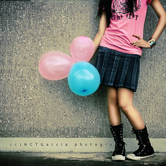 Week 29/52: If you carry your childhood with you, you never become older. (ilovestrawberries (Carmi)) Tags: pink blue childhood balloons flickr balloon skirt sneakers tuesday ilovestrawberries hppt mctgarcia