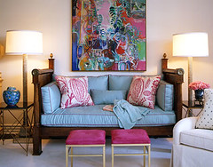 Pink + blue living room: Retro Los Angeles glam by Joe Nye (SarahKaron) Tags: pink blue house inspiration home french design losangeles colorful antique turquoise feminine interior room fuchsia symmetry retro resort livingroom decorating raspberry symmetrical decor bold daybed glamorous designing hotpink housebeautiful robertallen joenye manuelcanovas leejofa