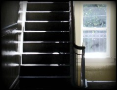 Stairs at The Belvedere House - ATLANTA (swampzoid) Tags: atlanta house stairs hall apartments glare bright belvedere constrast thebelvederehouse