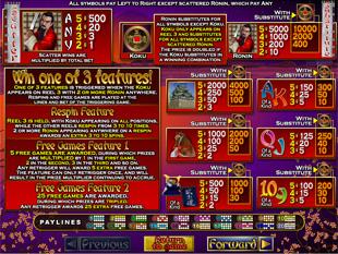 welcome bonus Ronin slot game