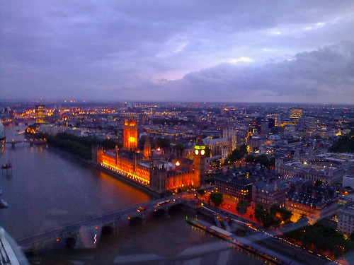 London landscape and Houses of Parliament