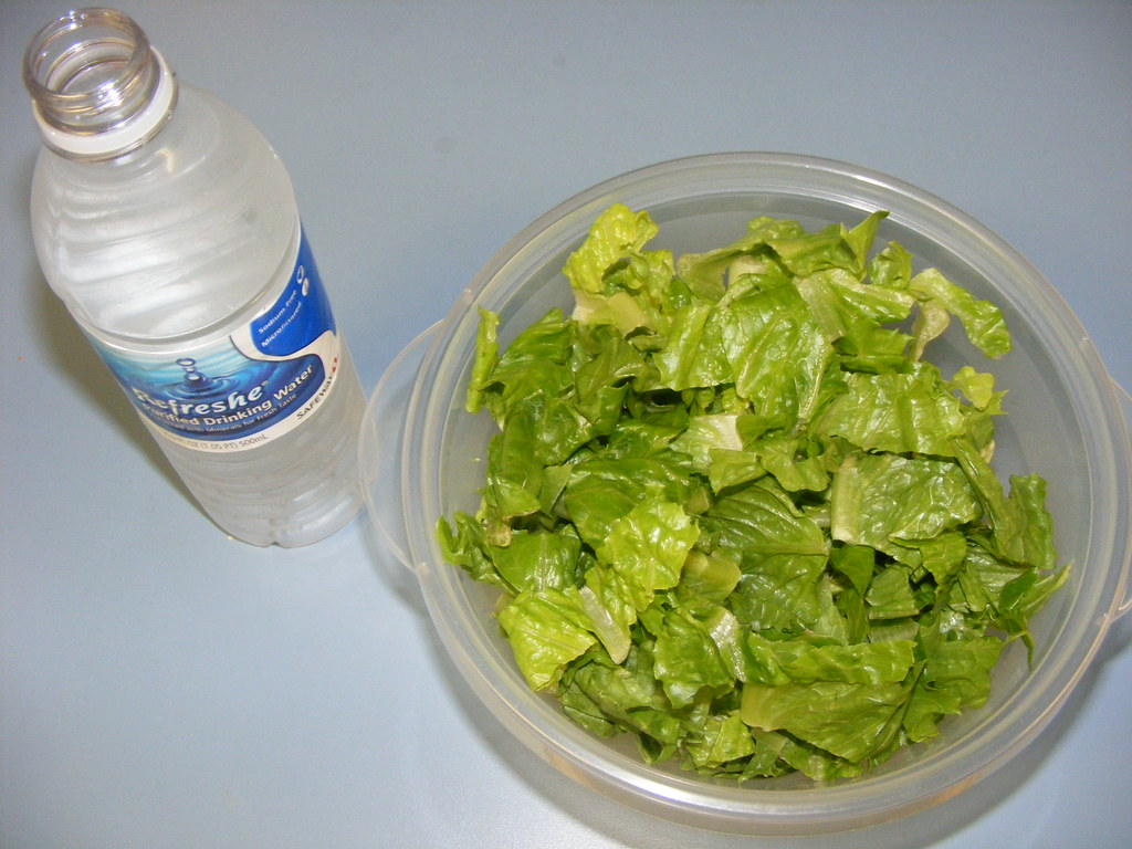 Proof I eat healthy most of the time (#20) - Wednesday snack: salad & water