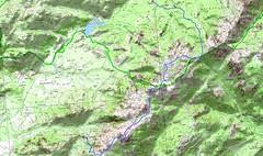 Carte de la Cagne et tracé de la traversée Giannuccio - Vignalella du 03/07/2009