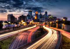 Minneapolis Sunset (Greg Benz Photography) Tags: headlights explore frontpage traffictrails freewaytraffic minneapolisskyline minneapolissunset twincitiesskyline minneapolishdr carbonsilverphotography downtownminneapolissunset urbanminnesota
