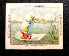 1880 Victorian trade card  Troy Laundry Macon Georgia (oldsailro) Tags: park old boy sea summer people sun lake playing beach water pool girl sunshine youth sailboat race vintage children fun toy boat miniature wooden pond model waves sailing ship child time yacht antique group victorian boom mat card regatta hull spectators trade watercraft 1880 adolescence keel fashioned
