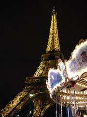 Eiffel Tower at Night with Carousel