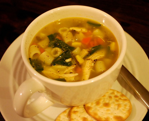 chicken soup with turnip greens 2