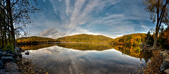 Hertel Lake on Mont Saint-Hilaire (HDR Panorama) (Jonathan Grenier) Tags: autumn sky panorama mountain lake canada reflection fall water clouds nikon quebec hdr d300 sigma1020mm montsthilaire hdrpanorama hdrpano hdrquebec