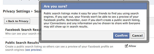 "Privacy settings: warning when unclicking the ""search"" box"