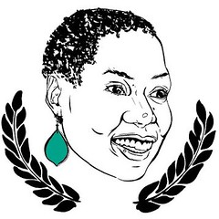 an illustration of the face of a smiling African woman. She has short hair. Two laurels, representing film prizes, frame her face