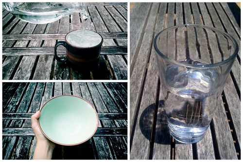 Full cup, empty bowl, half-full glass