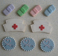 Band-Aids, Nurse's Caps & Stethoscopes (Songbird Sweets) Tags: nurse sugarcookies bandaids stethoscopes nursecaps