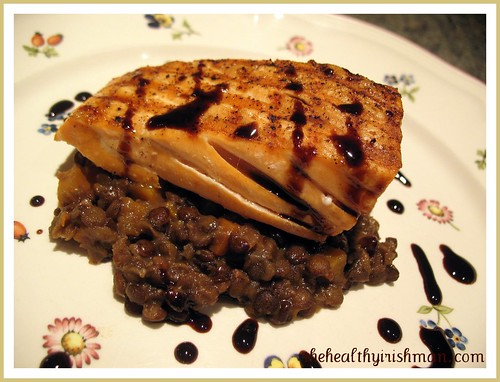 Grilled Salmon with Braised Lentils